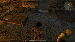 Spartanische Einrichtung mit Fußbodenbeleuchtung
